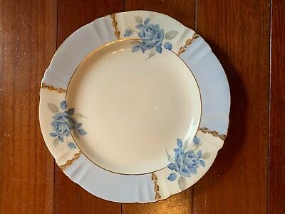 Margaret Rose Royal Standard Fine Bone China England Blue Rose 8 Inch Plate