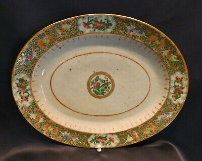 "Antique 19C Large Chinese Export Rose Medallion Oval Platter 14"" Bats Flowers"