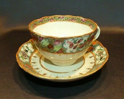 Lovely Antique 19C Chinese Export Rose Medallion Cup + Saucer Handpainted