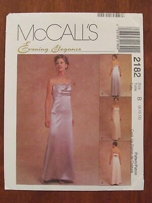 b5bf5050788b McCALL S PATTERN - 2182 LADIES EVENING DRESS EMPIRE WAIST STRAPS COWL 8-12  UNCUT