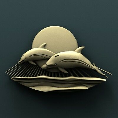 3d STL Model Relief for CNC Router Aspire _ (0588) Dolphins