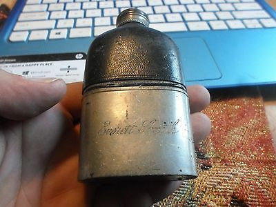 VINTAGE FLASK WITH LEATHER and Engraved RARE!!
