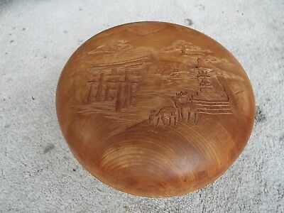 ANTIQUE CHINESE  Asian CARVED TURNED WOOD WOODEN Jewelry SCHOLAR BOX SIGNED