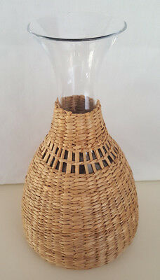 "Very Large 11"" Wicker and Clear Glass Wine Decanter"