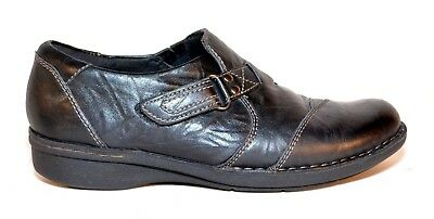 c43f02704ec Clarks Collection Distressed Black Leather Slip On Loafers Womens Shoes Sz  7.5M