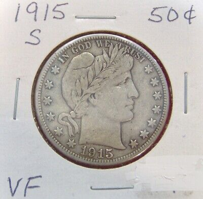 1915 S Barber Half Dollar Silver Fifty Cent **free Shipping **  S54
