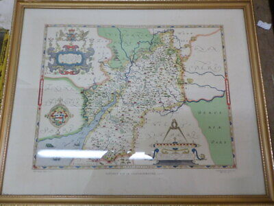 PRINT of SAXTON'S MAP OF GLOUCESTERSHIRE 1577 made in 1968 - framed