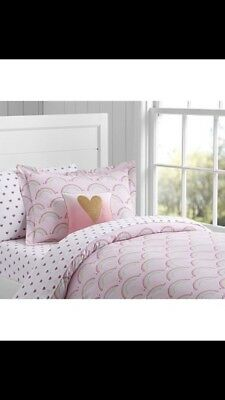 Pottery Barn Kids Organic Rainbow Duvet Cover Twin Size New Pink