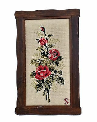 Finished Cross Stitch Needlepoint Roses in Wood Frame Vintage