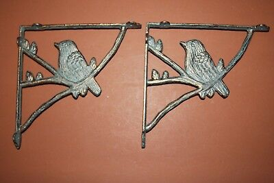 (2) Antique-look Bird Shelf Brackets Bronze-look Cast Iron 8 1/2 inch, B-44