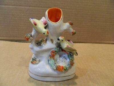 Hand Painted Staffordshire Vase w/ 2 Birds & Eggs in a Nest Antique