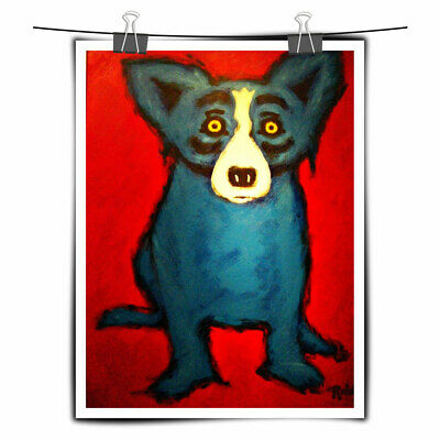 Blue Dog cartoon art painting HD print on canvas wall art home wall decor 18X24