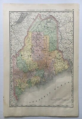 c 1890 Vintage Rand McNally Indexed Atlas of the World Map of Maine 15x22 inches