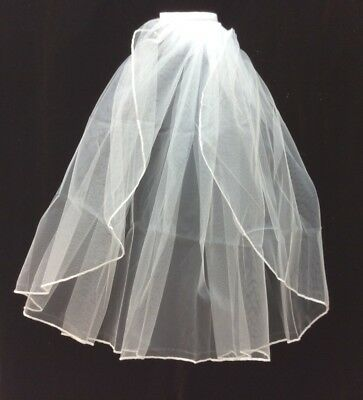 Tulle Veil, 1 Layer with Comb Shoulder Length Jeweled or Plain, White (V19 20)