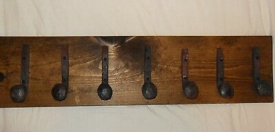 "7 Antique Hooks Old Railroad Spike Art ""Dark Walnut"" Vintage Style Coat Rack Hat"