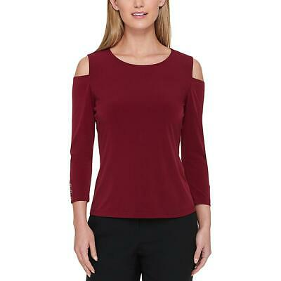 f9931651e6903 Tommy Hilfiger Womens Red Cold Shoulder Matte Pullover Top Shirt L BHFO 1974