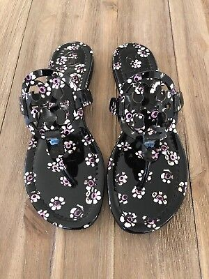 176e9436f4e2 NWB Tory Burch Miller Sandals Size 7.5 Black Stamped Floral Patent Leather