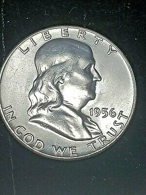 1956 P Franklin Half Dollar Brilliant  Uncirculated ~ 90% Silver Exactly Shown