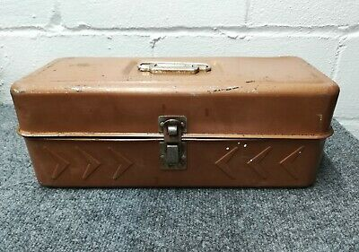 Vintage Tan Fishing Tackle Tool Box Hamilton Metal Products Made in USA