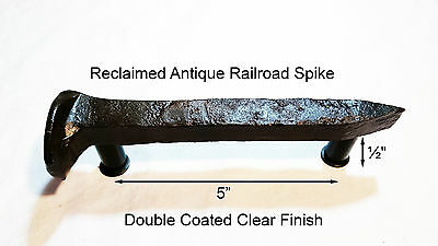 "5"" Left Sealed Railroad Spike Dresser Drawer Cabinet Handle Antique Vintage"