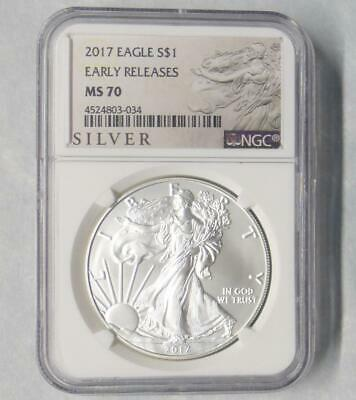 2017 NGC MS 70 American Silver Eagle Dollar, Early Release, 1 Ounce Silver $1
