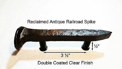 "3-1/2"" Left Sealed Railroad Spike Dresser Drawer Cabinet Handle Antique Vintage"