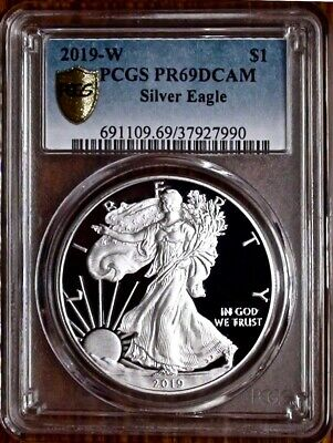 2019-W $1 Proof Silver Eagle PCGS PR69DCAM |  GOLD SHIELD SPOTLESS BULLION!!