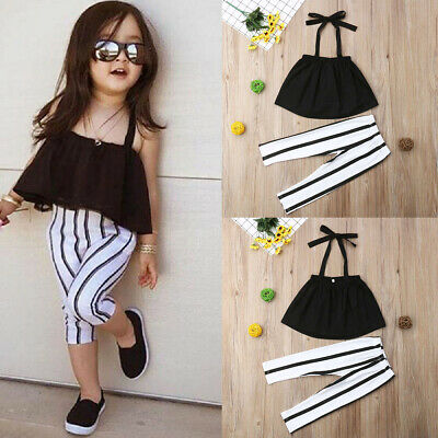 Summer Toddler Kids Baby Girls Clothes Strap Tops+Stripe Long Pants Outfits Set