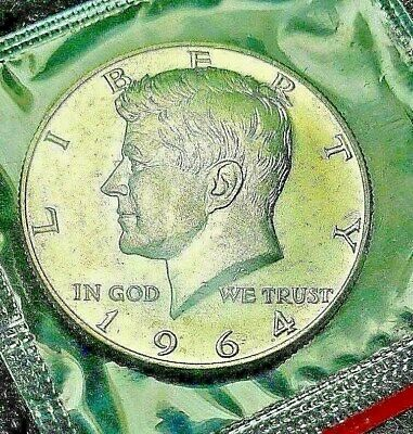 1964 D  Uncirculated Mint Silver Kennedy Half Dollar Mint Cello Exactly Shown