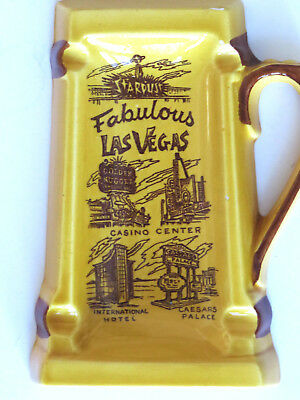 Vintage LAS VEGAS Souvenir Beer Stein Ashtray Casino Center Famous Hotels Gamble
