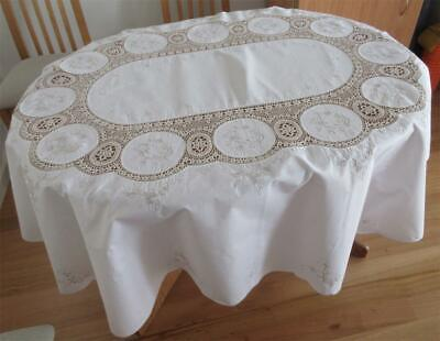 Large Vintage TABLECLOTH Embroidered Cotton/Crochet NEVER USED