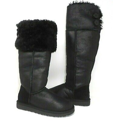 490f1d9b860 Ugg Over The Knee Bailey Button Bomber Jacket Black Shearling Boots 5 Rare  New