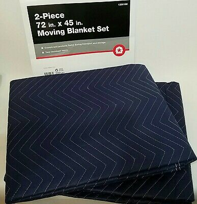 """Dual-Sided Moving Blanket Set of 2 for Movers 45"""" x 72"""" Each -Tear Resistant NEW"""