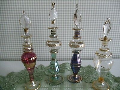 Vintage Blown Glass Perfume Bottles with Stopper, Different Colors and Sizes