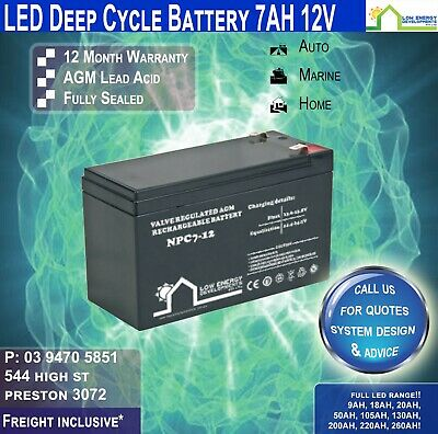 12V 7Ah Sealed Lead Acid  Rechargeable AGM Battery Deep Cycle