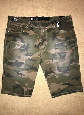23a2d0ae38 JET LAG 36 Vintage Olive Camouflage Multi-Pocket Fly Button Mens Cargo  SHORTS