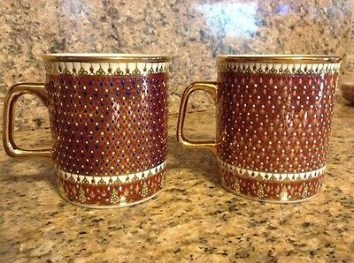 Gorgeous Handpainted Asian Coffee Mugs -- Lavish Detail, Gold Leaf Paint