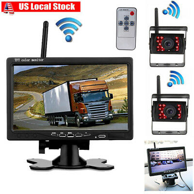 """2x Wireless Rear View Backup Camera Night Vision for RV Truck Bus+7"""" LCD Monitor"""
