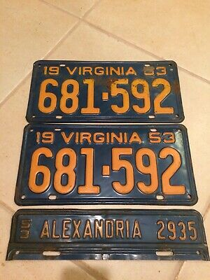 Vintage 1953 Virginia License Plates Tags Matching Pair 681-592 Complete Set