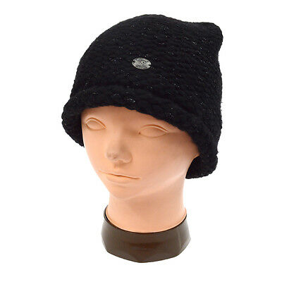 8bbf057ac1c72 Authentic CHANEL CC Logos Knitted Hat Black 05A Cashmere Italy A36814d