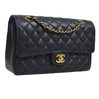 851e7f7457108f Auth CHANEL Quilted Double Flap Chain Shoulder Bag Black Caviar Leather  S08103
