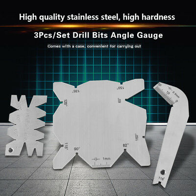 3Pcs Gauge Set Drill Bits Angle Measuring Gage Dirll Sharpener inspection SS New