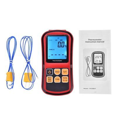 GM1312 Digital Thermometer Dual-channel LCD Display Backlight Temperature Meter