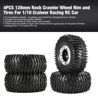 4PCS 128mm Rock Crawler Wheel Rim and Tires For 1/10 Cralwer Racing RC Car AAel
