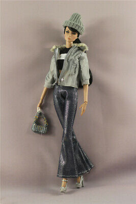 6in1 Set Fashion Jacket+vest+pants+Bag+Hat+Shoes Outfit  FOR 12inch 11.5in.Doll