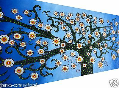 oil Painting Art original Canvas by Jane Crawford Australia tree blue aboriginal