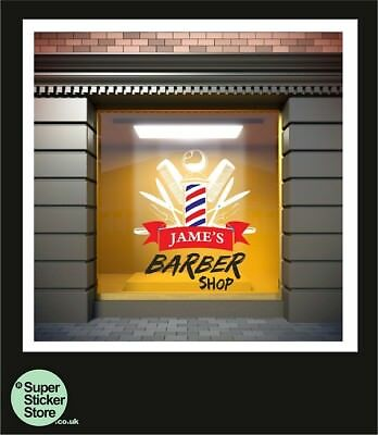 Barber Shop Window Stickers Sign Decal Salon Traditional Personalisation Name