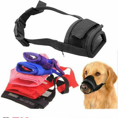 Black Dog Safety Muzzle Adjustable Biting Barking Chewing Small Medium Mesh UK