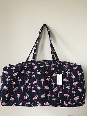 NEW Vera Bradley Large Traveler Duffel Bag Flamingo Fiesta Pattern Foldable