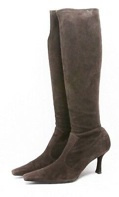 6d428cb9b006 Stuart Weitzman COOLBOOT Womens KNEE HIGH Boots 8.5 M Stretch Suede Leather  Heel
